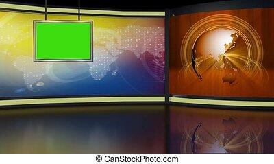 News TV Studio Set 265- Virtual Green Screen Background Loop...