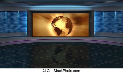 News TV Studio Set 266- Virtual Green Screen Background Loop...