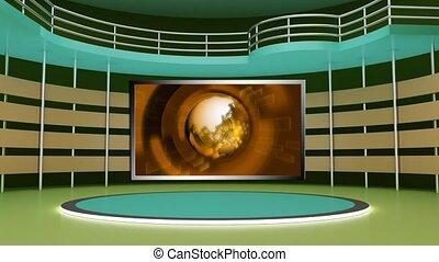 News TV Studio Set 268- Virtual Green Screen Background Loop...