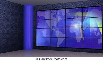 News TV Studio Set 269- Virtual Green Screen Background Loop...