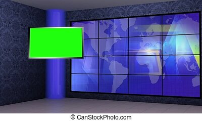 News TV Studio Set 272- Virtual Green Screen Background Loop