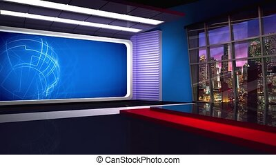 News TV Studio Set 282 - Virtual Green Screen Background Loop