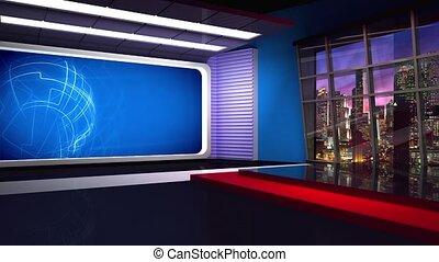 News TV Studio Set 282 - Virtual Green Screen Background...