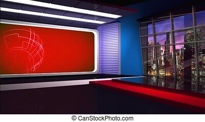 News TV Studio Set 283 - Virtual Green Screen Background...