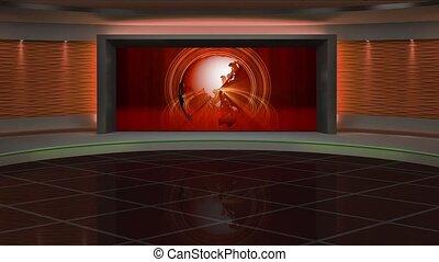 News TV Studio Set 287- Virtual Green Screen Background Loop...