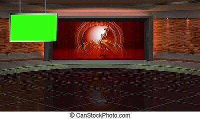 News TV Studio Set 288- Virtual Green Screen Background Loop...