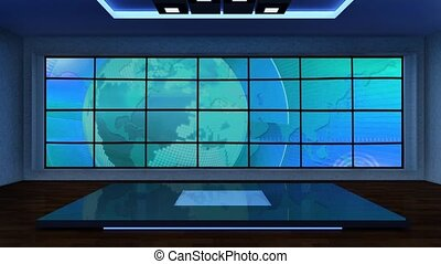 News TV Studio Set 296 - Virtual Green Screen Background...