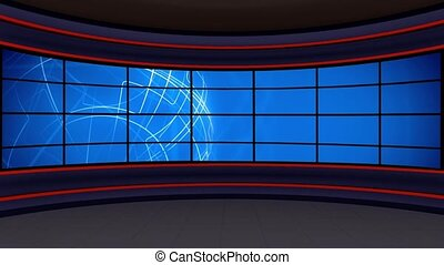 News TV Studio Set 297 - Virtual Green Screen Background...