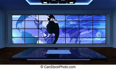 News TV Studio Set 298 - Virtual Green Screen Background...