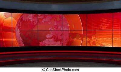 News TV Studio Set 301 - Virtual Green Screen Background...