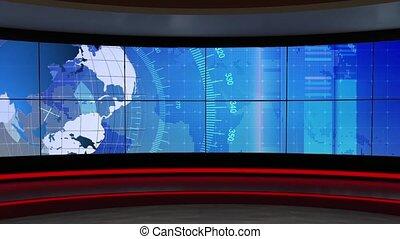 News TV Studio Set 302 - Virtual Green Screen Background...