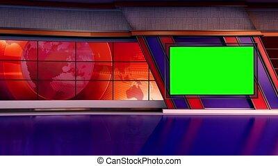 News TV Studio Set 303 - Virtual Green Screen Background...
