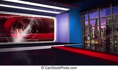 News TV Studio Set 304 - Virtual Green Screen Background...