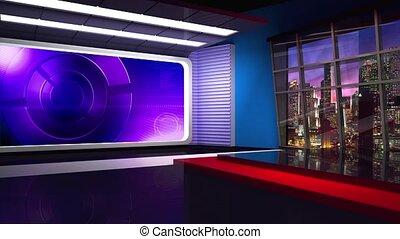 News TV Studio Set 305 - Virtual Green Screen Background...