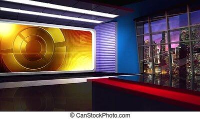 News TV Studio Set 306 - Virtual Green Screen Background...