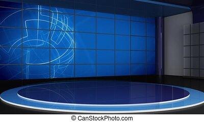 News TV Studio Set 309- Virtual Green Screen Background Loop...