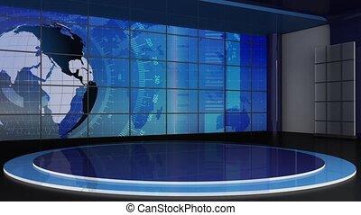 News TV Studio Set 311- Virtual Green Screen Background Loop...