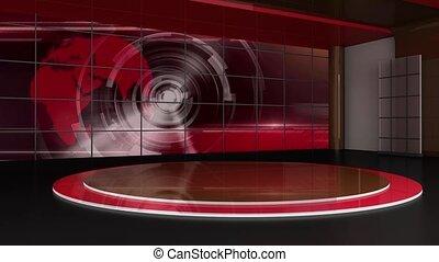 News TV Studio Set 312- Virtual Green Screen Background Loop...