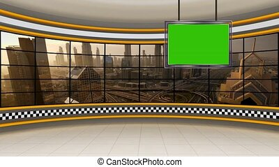Cityscape in background window for News base TV Program seamless loopable HD Video for News Room