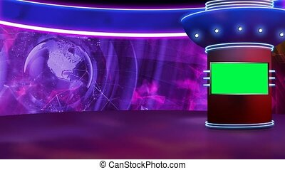 Purple colour rotating globe in background window for News base TV Program seamless loopable HD Video
