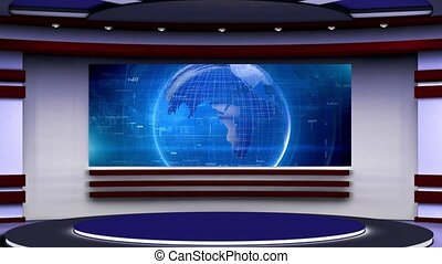 Blue colour rotating globe in background with Purple set for News base TV Program seamless loopable HD Video