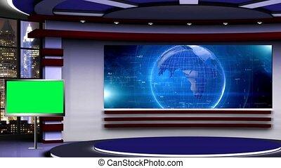 News TV Studio Set 323- Virtual Green Screen Background Loop...