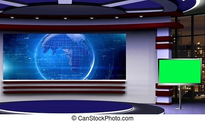 Blue colour rotating globe, Purple and White set,  Plasma TV with Cityscape in background window for News base TV Program seamless loopable HD Video