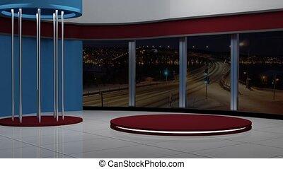 News TV Studio Set 143-Virtual Green Screen