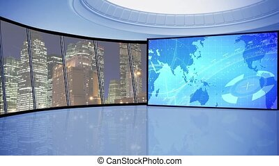 News TV Studio Set 146-Virtual Green Screen