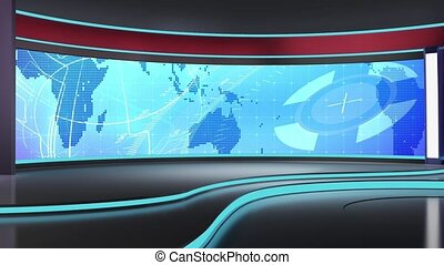 News TV Studio Set - - News TV Studio Set 183 - Virtual...