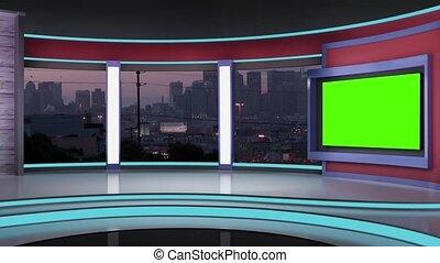 News TV Studio Set 193- Virtual Green Screen