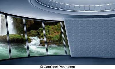News TV Studio Virtual Green Screen Background Loop - Motion...