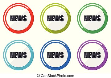News vector icons, set of colorful flat design internet symbols on white background
