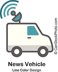 News Vehicle Flat Icon