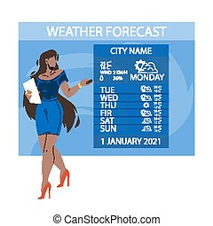 News Weather Reporter Work On Television Vector