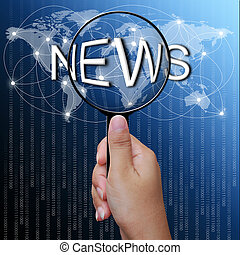 News, word in Magnifying glass,network background