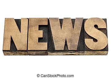 news word in wood type