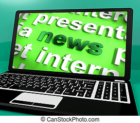 News Word On Laptop Shows Media And Information