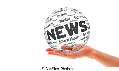 News Word Sphere - A person holding a 3d News Word Sphere