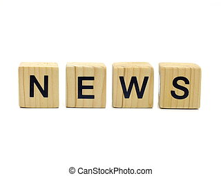 news word wooden blocks on white background