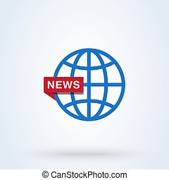 News World or News Globe sign icon or logo. line Digital news concept. Online broadcast, linear vector illustration.