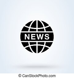 News World or News Globe sign icon or logo. line Digital news concept. Online broadcast, linear vector illustration.