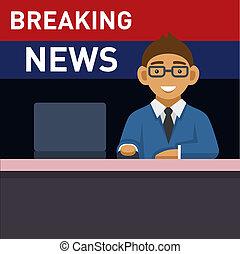 newscaster, com, computador, quebrar, news., vetorial