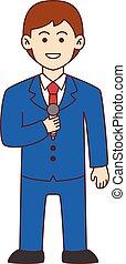 newscaster, doodle, caricatura, desenho, il