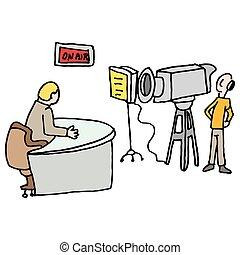 newscaster, elaboração do relatório, viver, em, um, estúdio