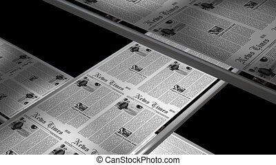 Newspaper press with newsflash - first 2 and last 2 seconds can be looped seamlessly