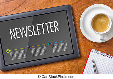 newsletter, -, タブレット, 机