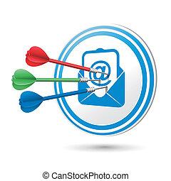 newsletter, begreb, target, hos, dart, finder, på, det