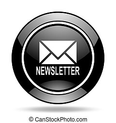 newsletter black glossy icon
