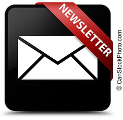 Newsletter black square button red ribbon in corner